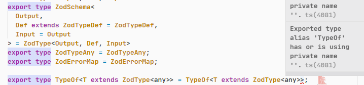 Exported type alias 'TypeOf' has or is using private name ''.ts(4081)