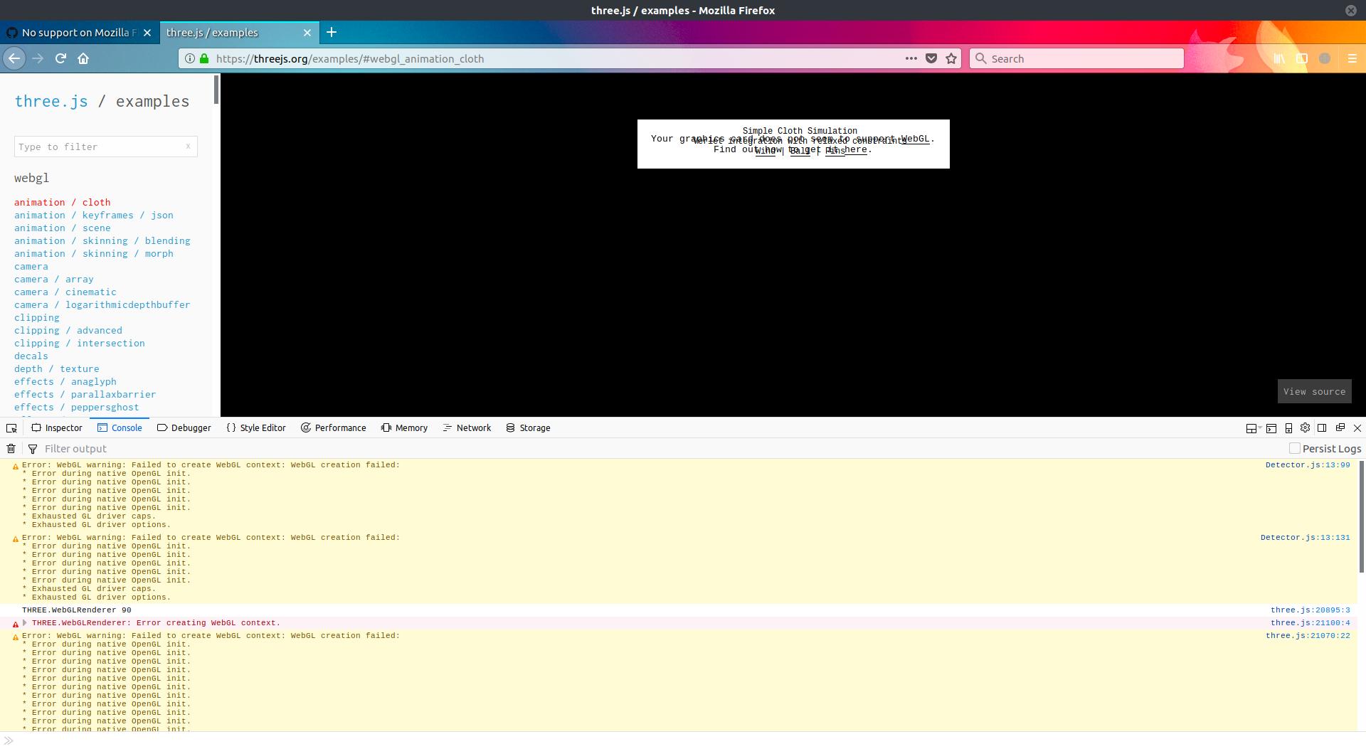 No support on Mozilla Firefox Quantum · Issue #13349 · mrdoob/three