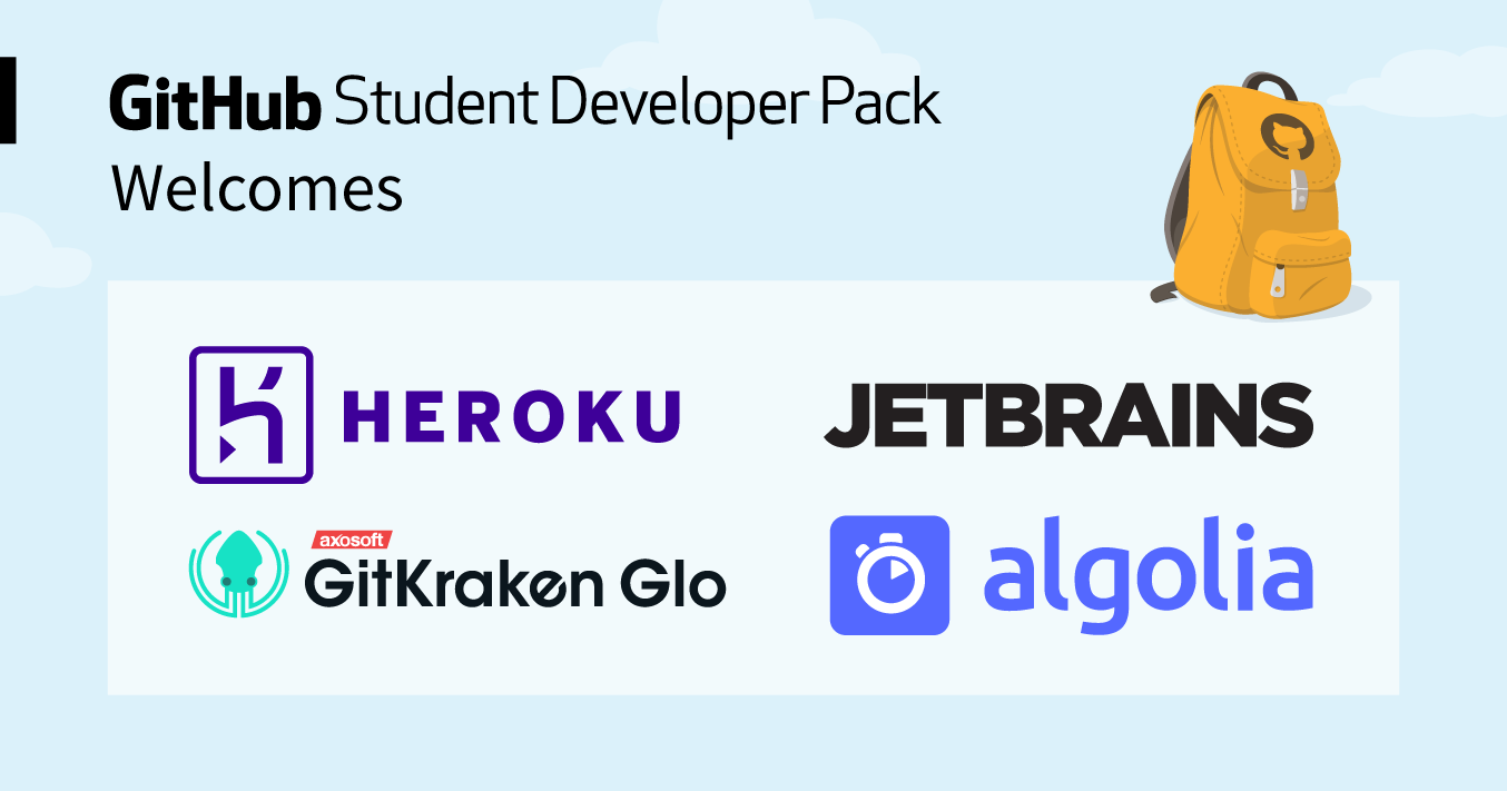 GitHub Student Developer Pack welcomes Algolia, GitKraken Glo, Heroku, and JetBrains