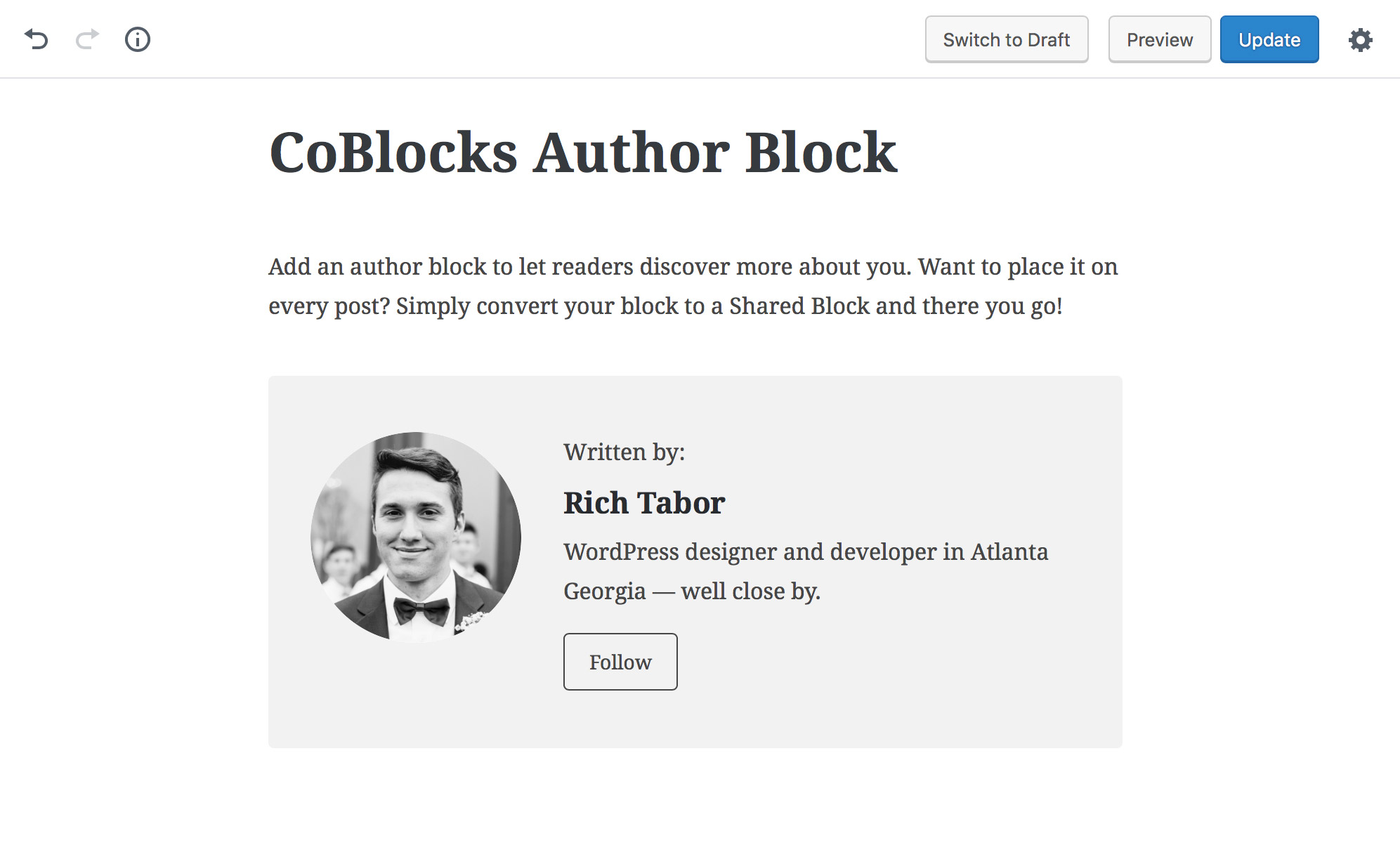 CoBlocks Author Block