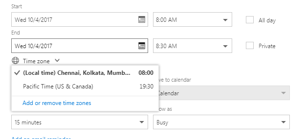 Here I Want To Get The Pacific Time Zones Offset But I Only Get The Offset Of The Timezone I Am Already In Ist Expectation Office Context Mailbox Item