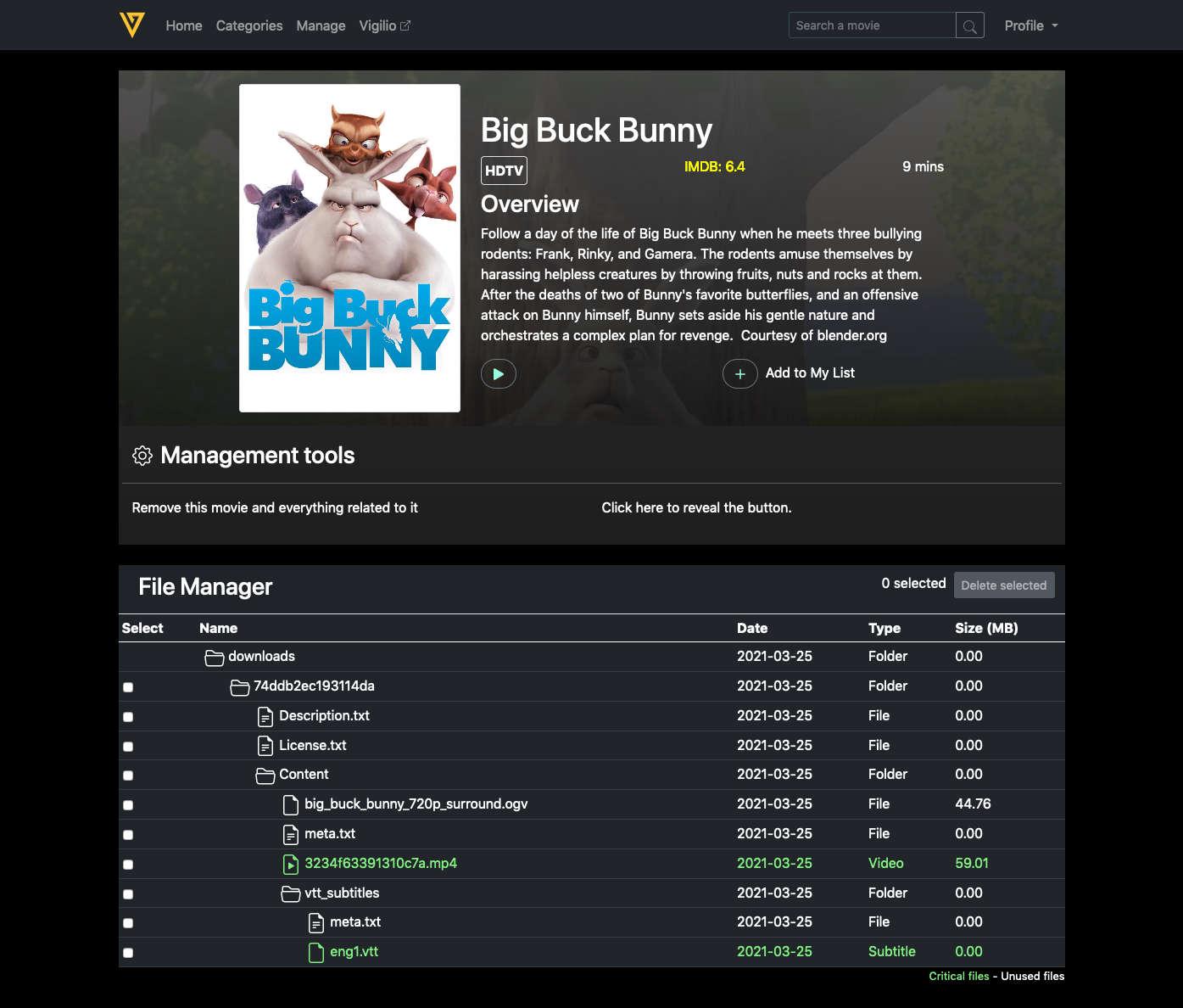 movie details page