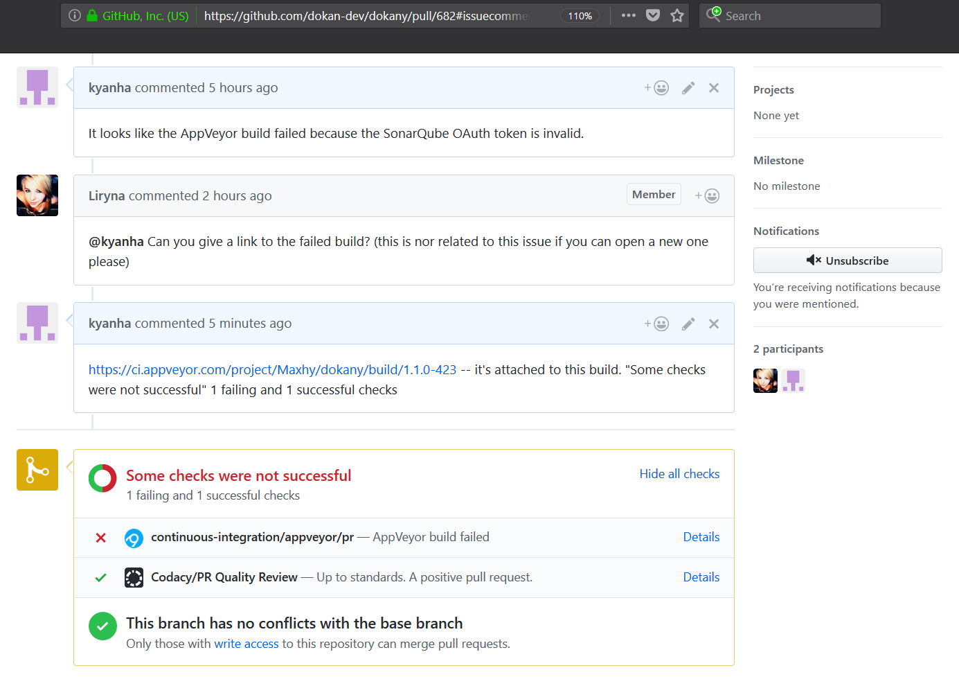 Shown on pull request #682, error in AppVeyor build · Issue