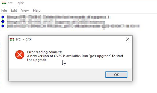 gitk displays upgrade reminder message as an error · Issue #444