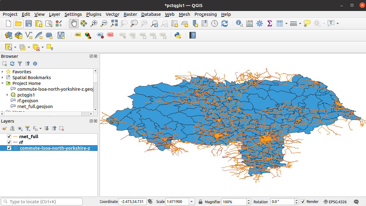 Three PCT layers visualised in QGIS.