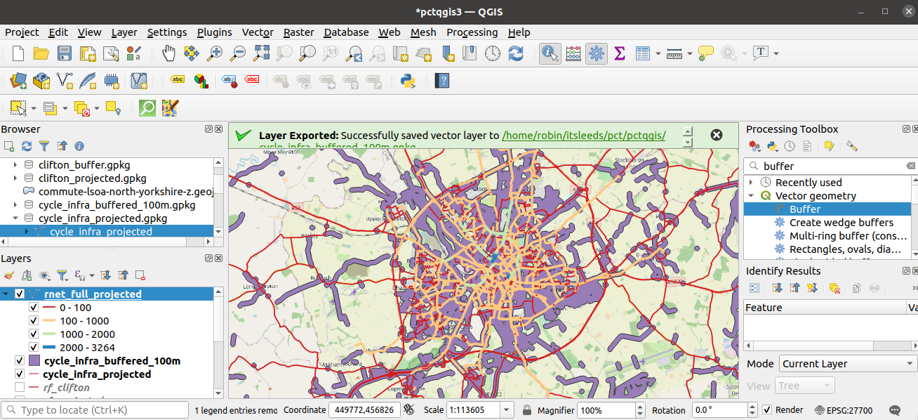 Route network layer and buffer representing cycle infrastructure, to identify gaps in the network.