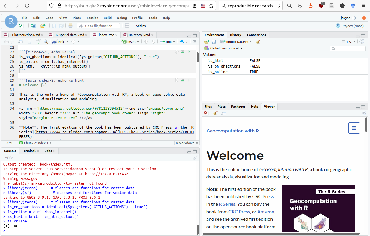 Screenshot of reproducible code contained in Geocomputation with R running in RStudio Server on a browser served by Binder