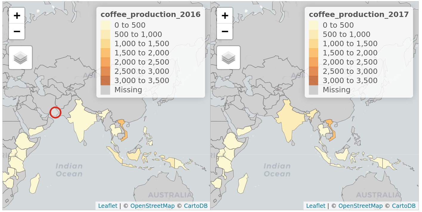Faceted interactive maps of global coffee producing in 2016 and 2017 in 'sync', demonstrating tmap's view mode in action.