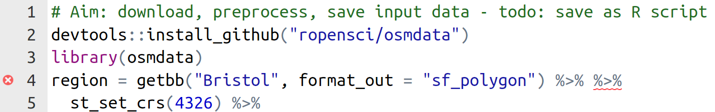 Illustration of 'code checking' in RStudio, which identifies the incorrect dublicate pipe operator at the outset of a script.