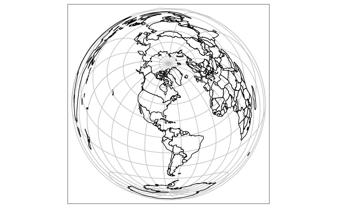 Lambert azimuthal equal-area projection of the world centered on New York City.