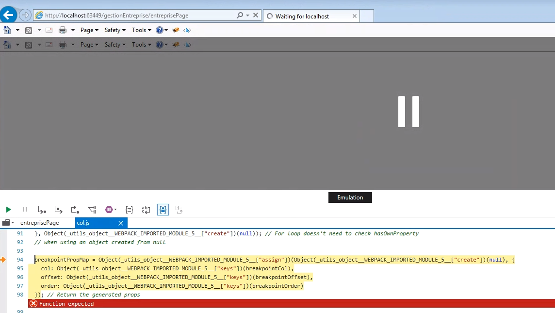 IE11: Script Error on col js between 2 0 0-rc 26 and 2 0 0-rc 27