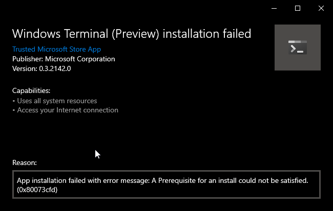 Prerequisite for an install could not be satisfied · Issue