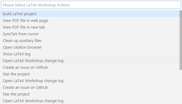 Dublicate Entries In Latex Workshop All Actions List Issue 193