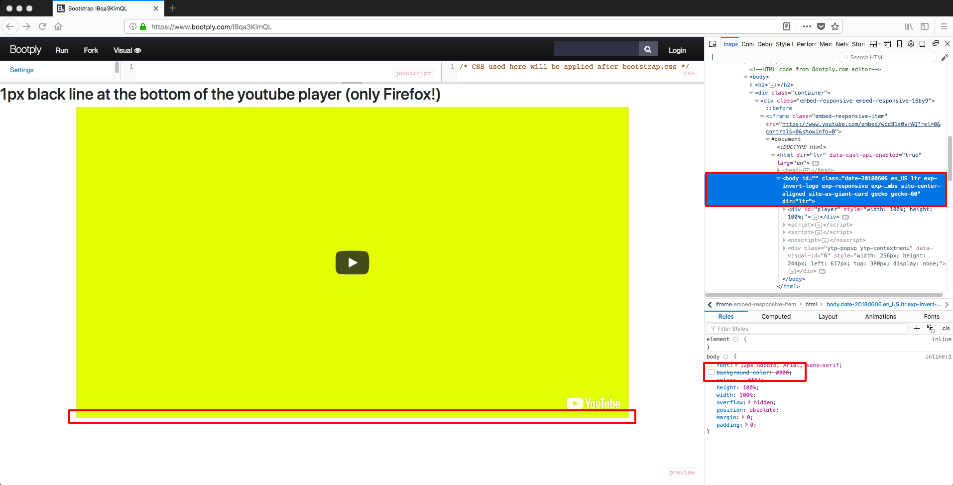 1px black line with  embed-responsive-16by9 and YouTube