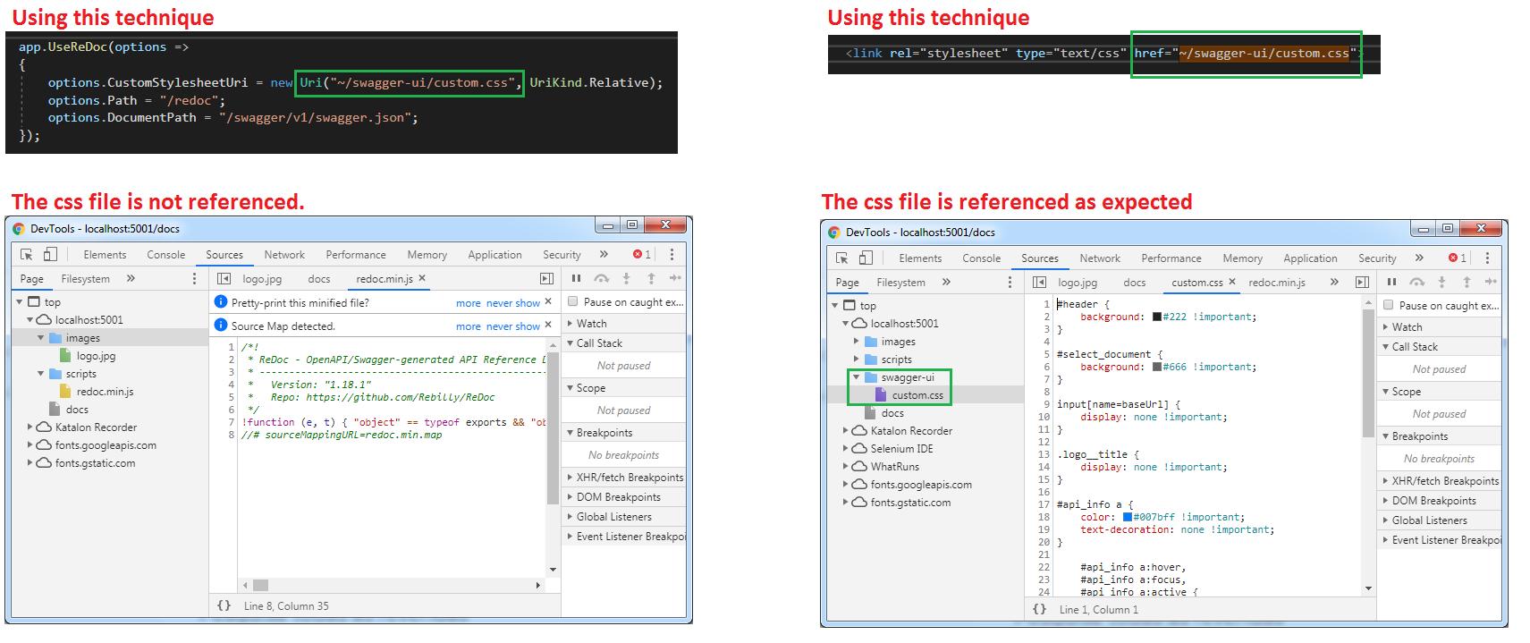 CustomStylesheetUri not working with ReDoc · Issue #2099 · RicoSuter