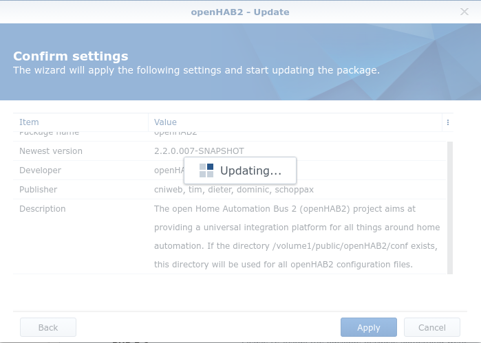 Update is hanging · Issue #100 · openhab/openhab-syno-spk