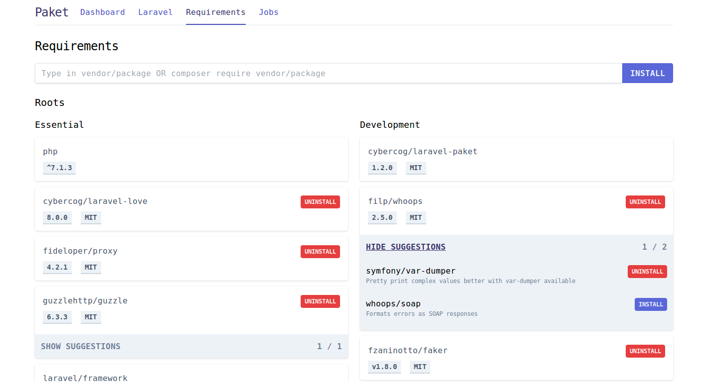 Laravel Paket Requirements