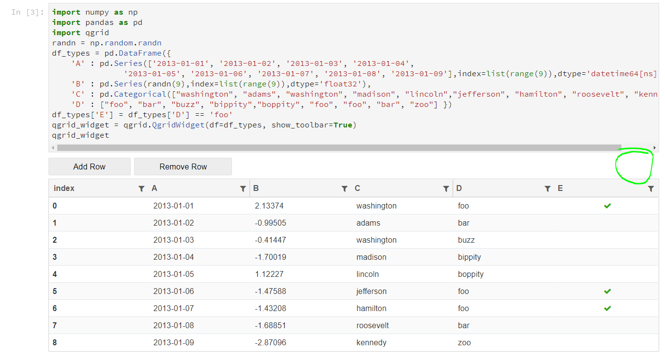 Qgrid:用于在Jupyter notebooks中排序,筛选和编辑DataFrame的交互式网