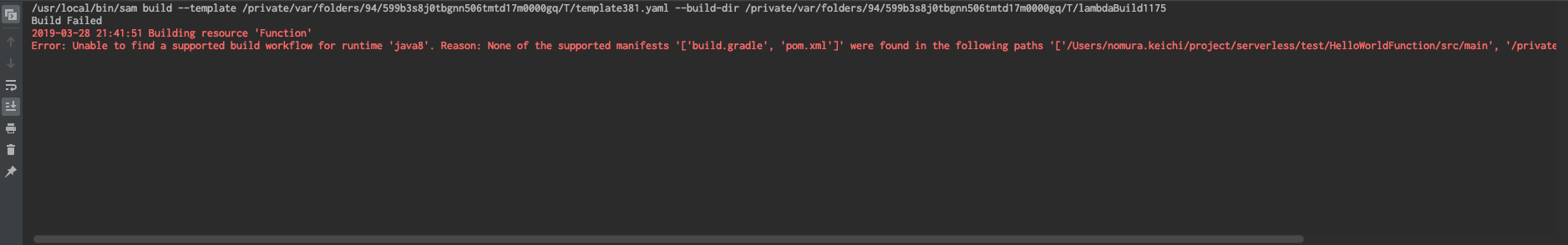 Lambda function in Gradle Project failed to Running locally · Issue