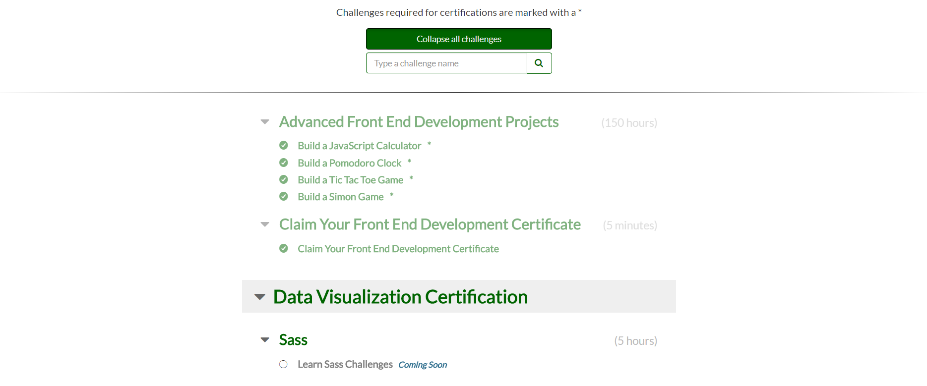 All Challenges In Front End Development Certification Completed