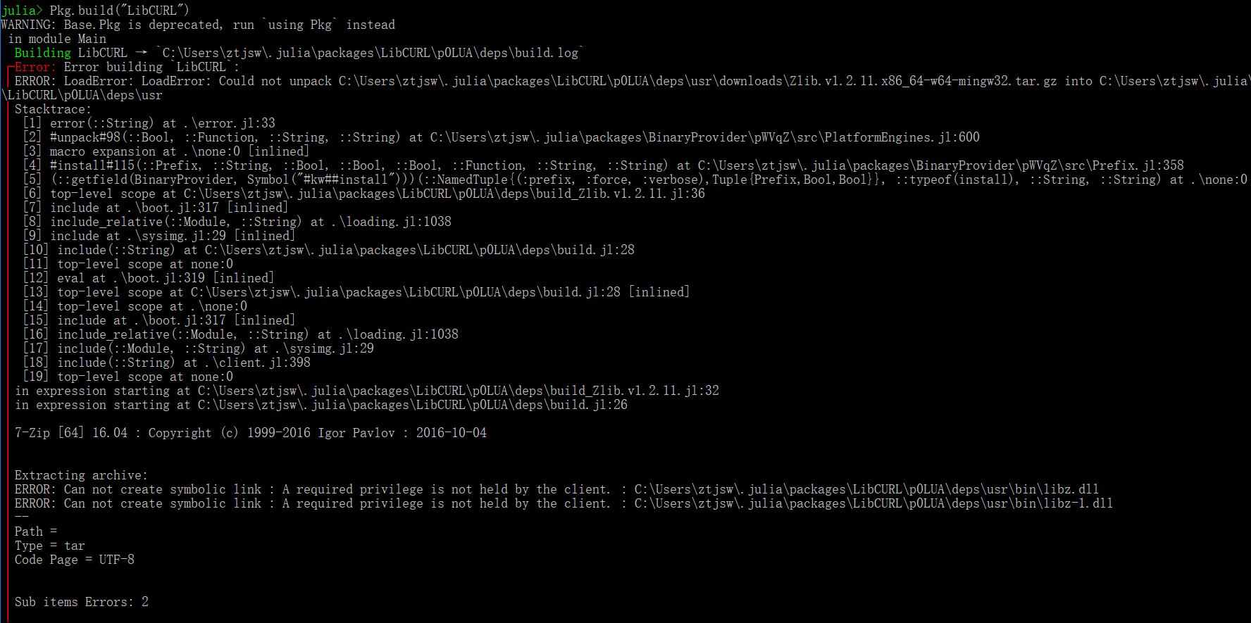 Build fails on Julia 0 7 0, Win64 (user account) · Issue #47