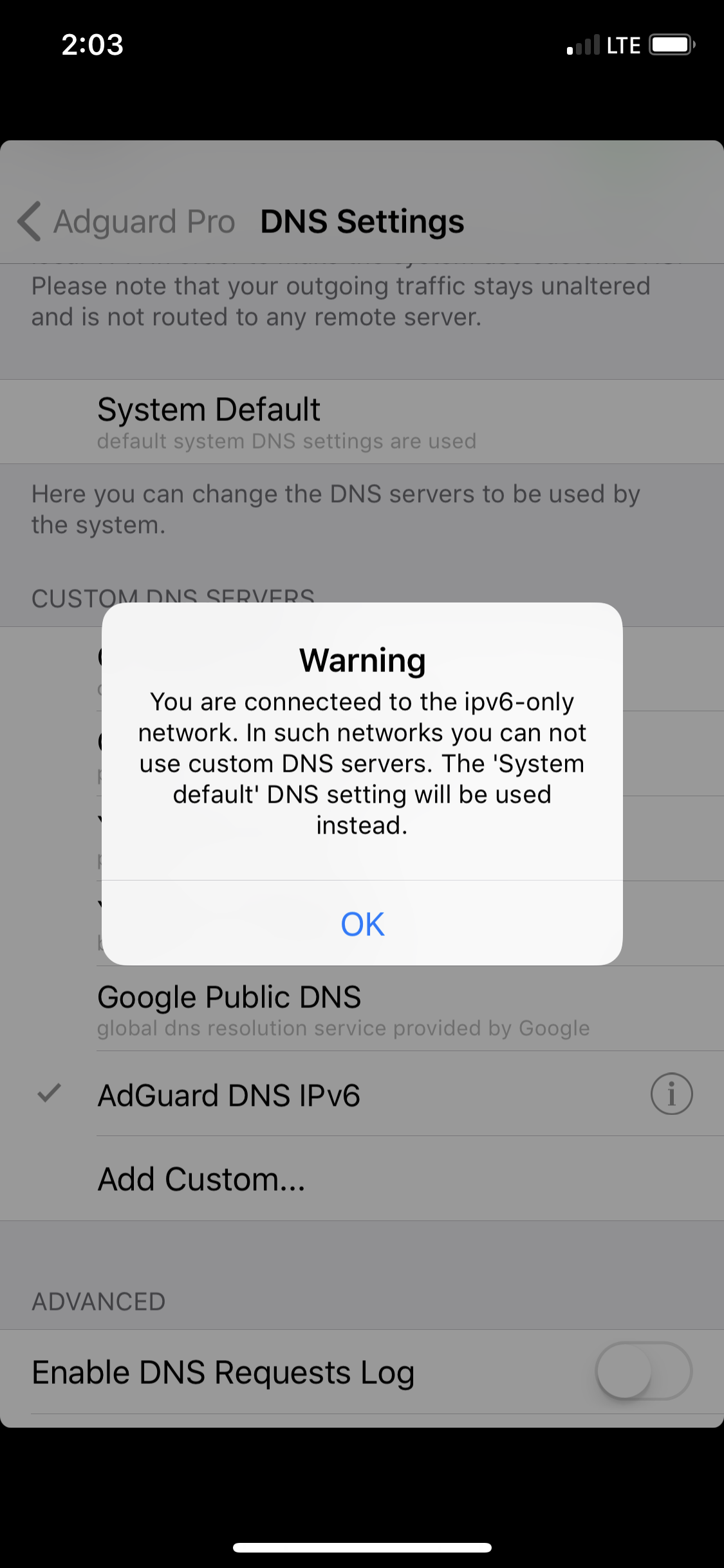 System DNS Override on iOS on T-Mobile USA · Issue #202