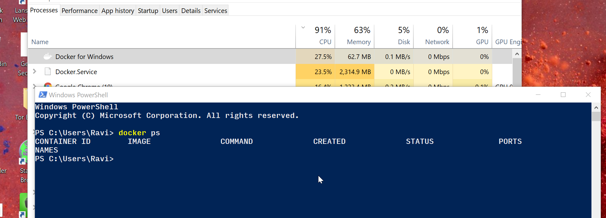 Windows 10 Docker processes consuming high CPU with no