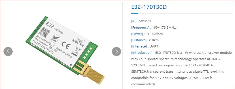 Support E32170T30D, (E32-TTL-1W, 170MHz, uart) · Issue #27