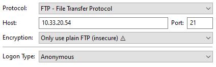 FTP client configuration