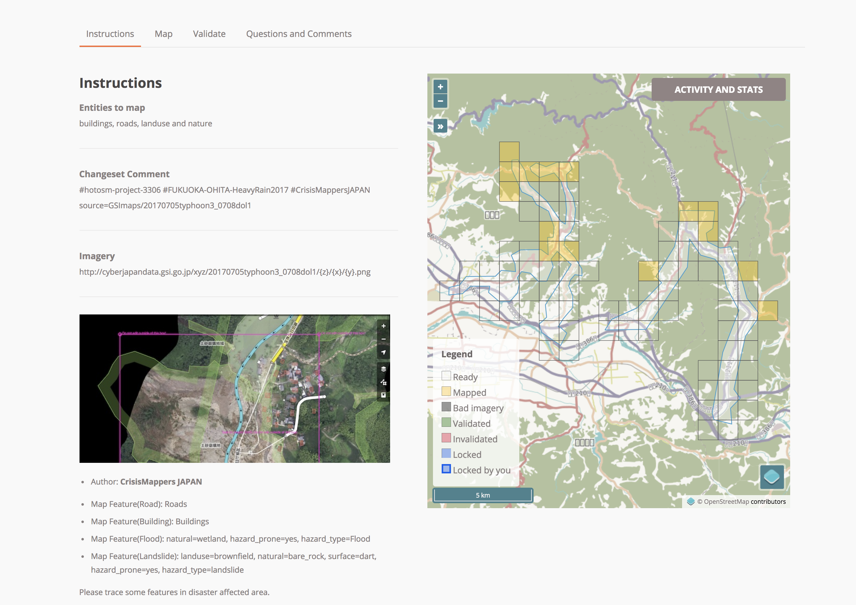 [Landslides and Flood mapping in Asakura City](https://tasks.hotosm.org/project/3306)