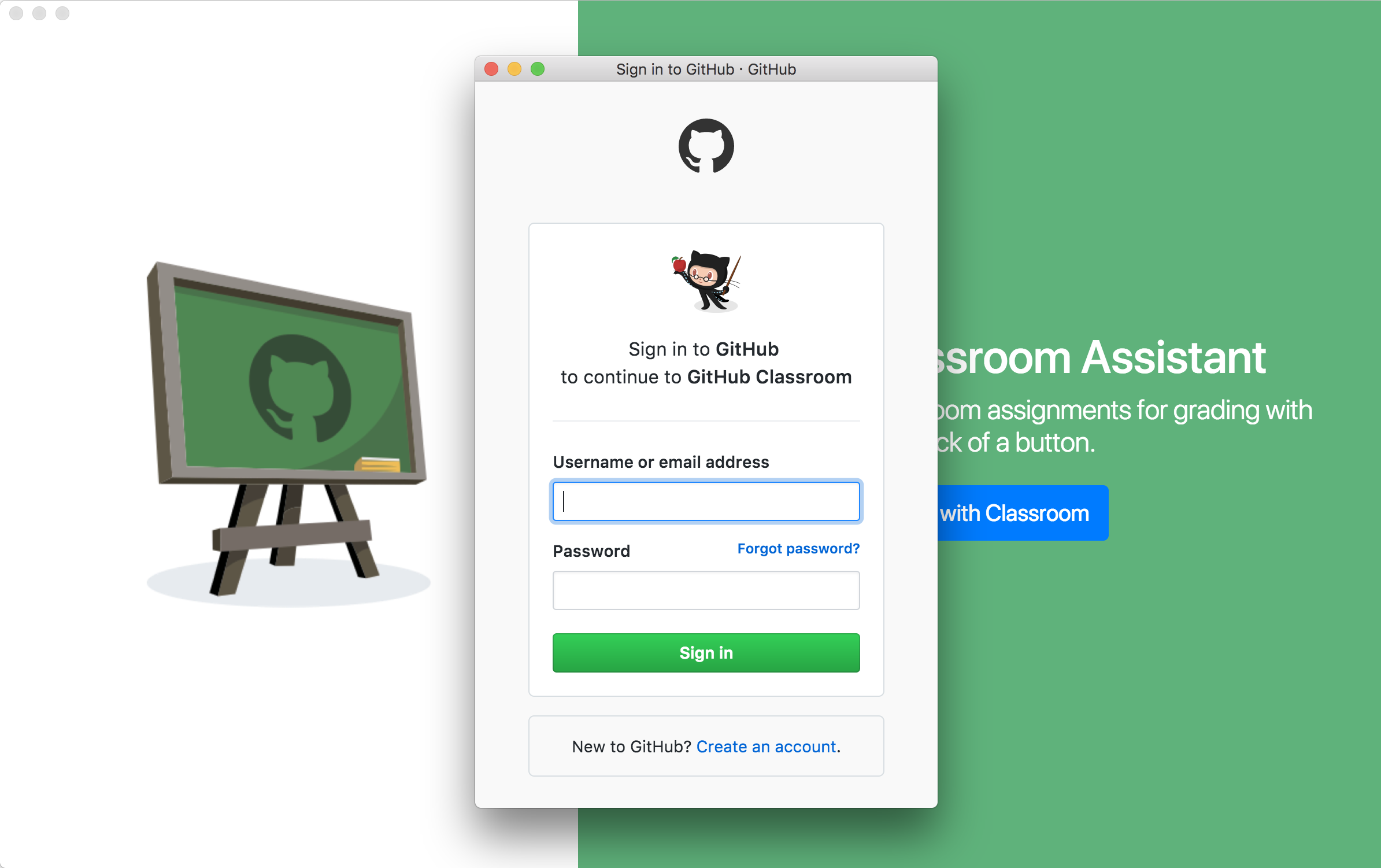 Signing in to GitHub to use Classroom Assistant