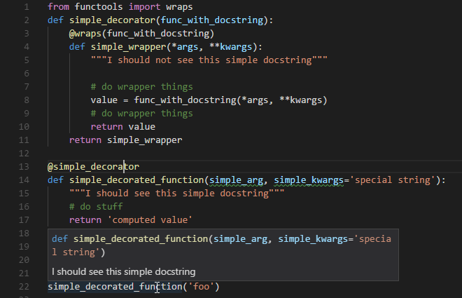 Docstring For Function With Decorators Display The Doc For The