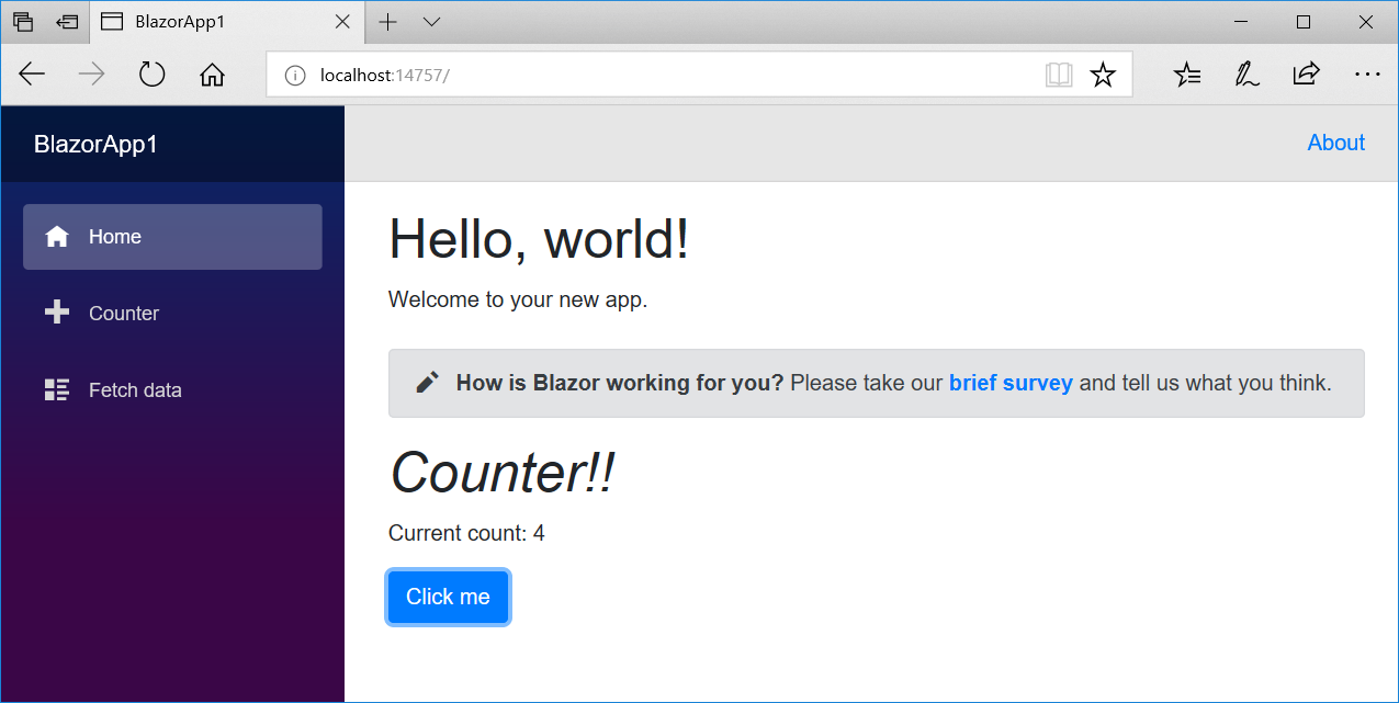 Blazor Home page with counter