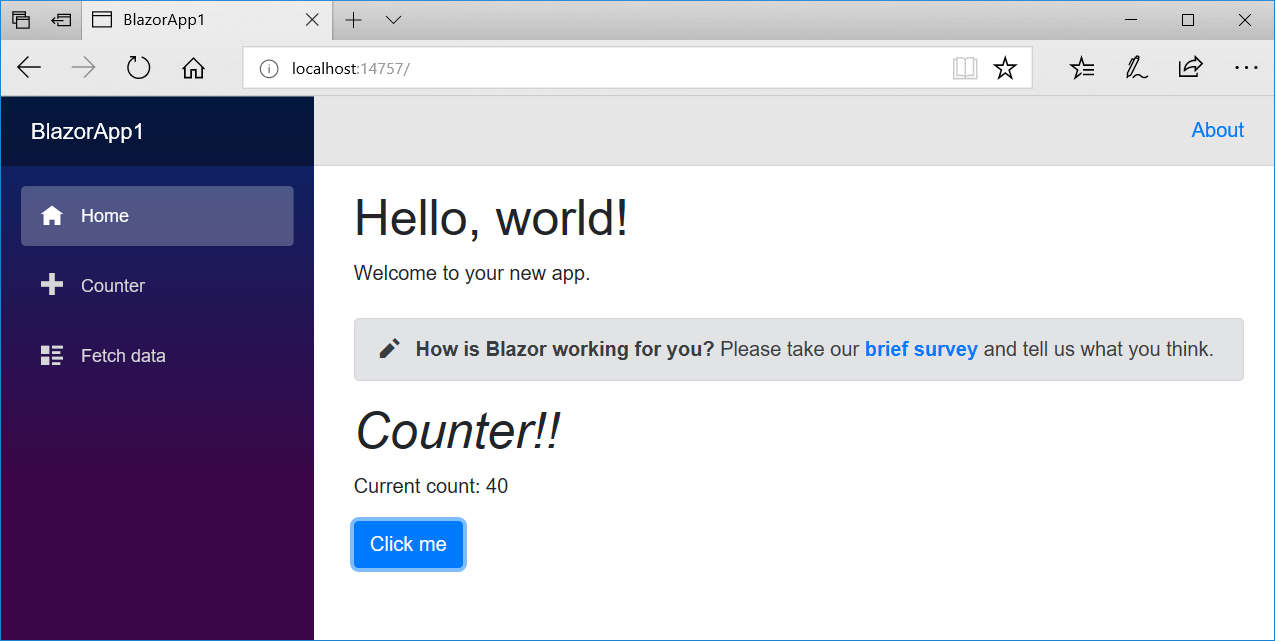 Blazor count by ten