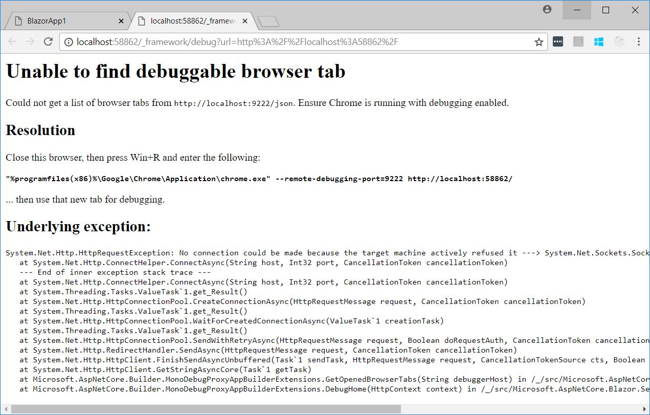 Blazor debugging error page