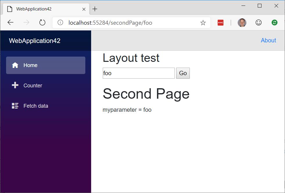 Blazor] UriHelper NavigateTo with Parameters from a layout