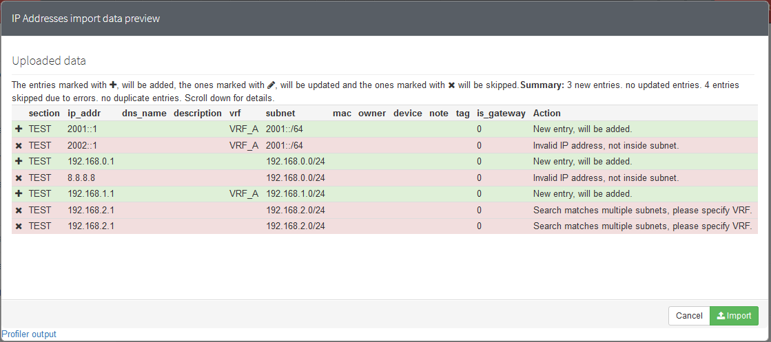 bug?] IP address import declares valid subnets as
