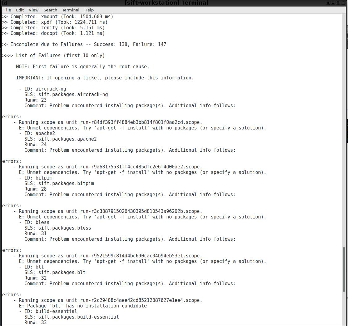 CLI] Ubuntu 16 04 failed to install SIFT · Issue #357 · teamdfir