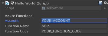 Azure Function details in Unity