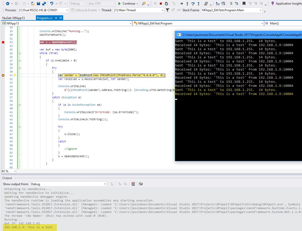 Socket class unable to receive UDP datagram  Error 10050