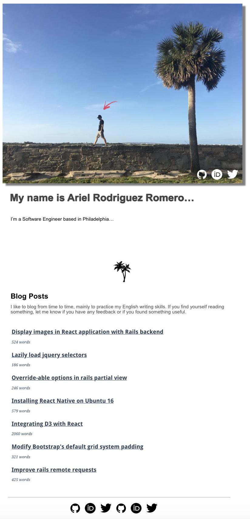 Mid-fi design of arielrodriguezromero.com