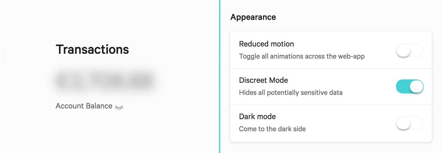 Ways to toggle the discreet mode in the N26 webapp