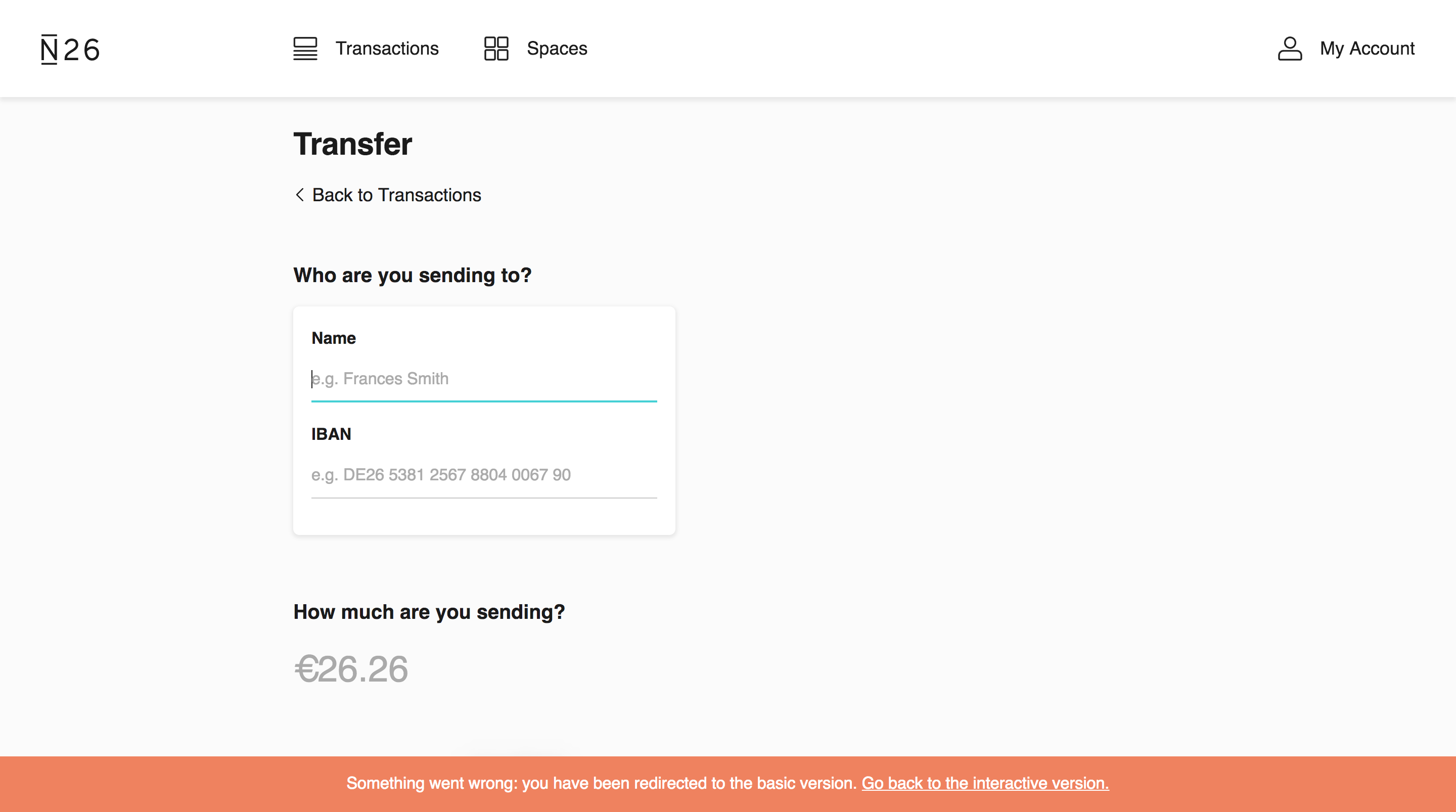 Transfer page with an error banner about being redirected to the basic version of the site