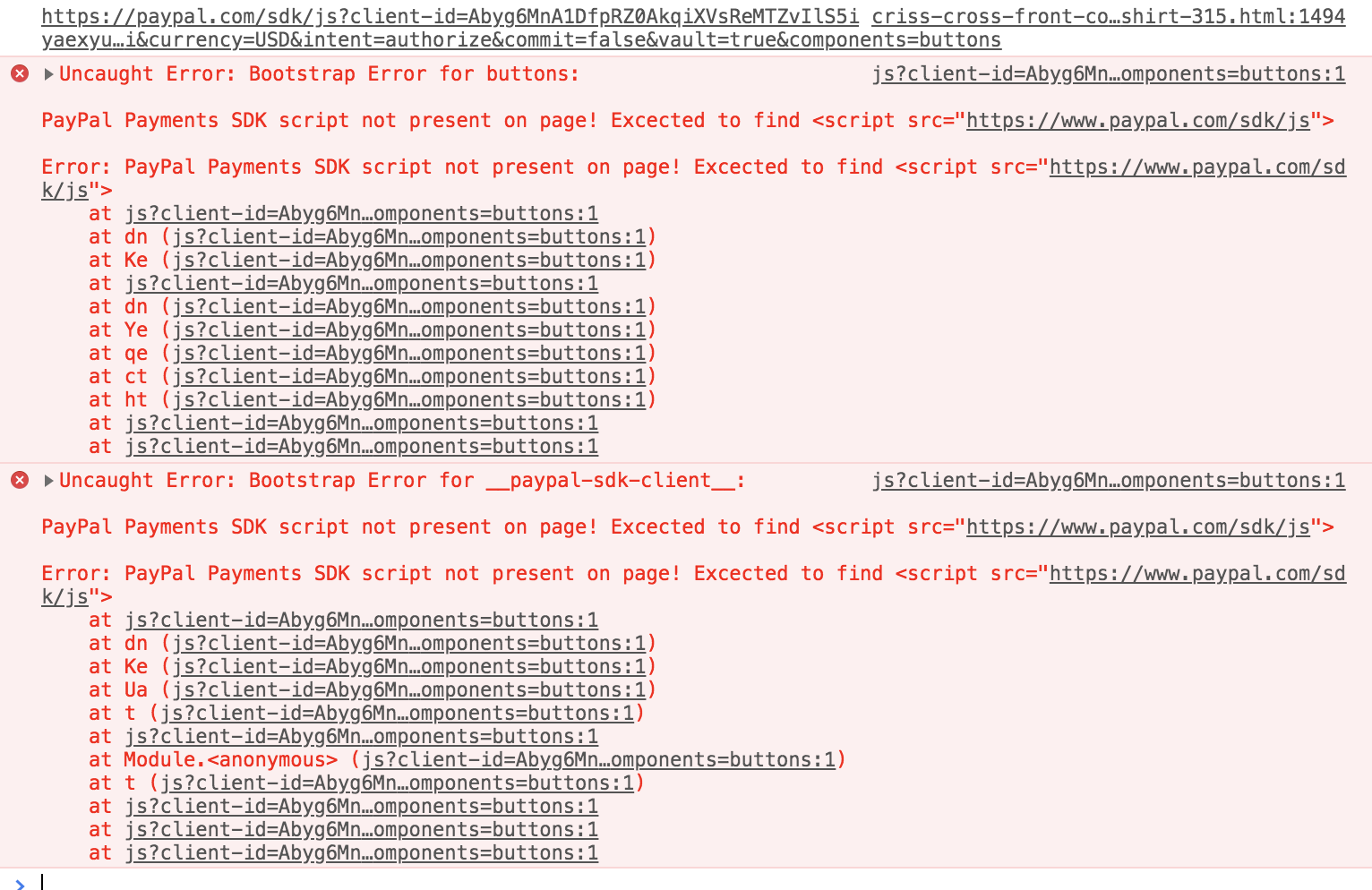 PayPal Payments SDK script not present on page! · Issue