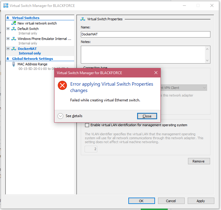 Developers - Hyper-V was unable to find a virtual switch