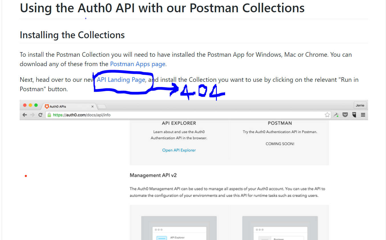 Broken Link at api article in postman md · Issue #4408 · auth0/docs