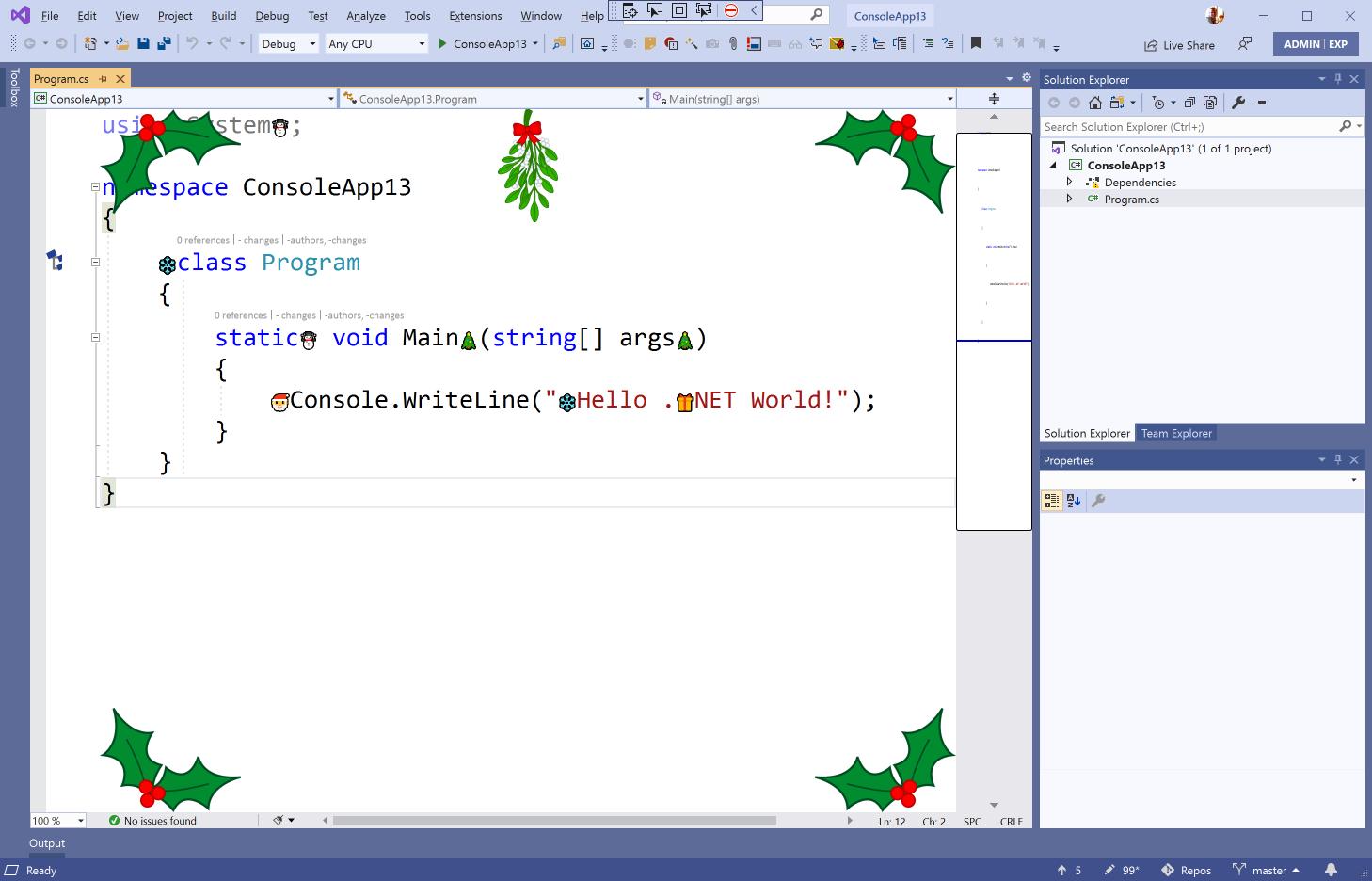 screenshot of Visual Studio editor including festive adornments