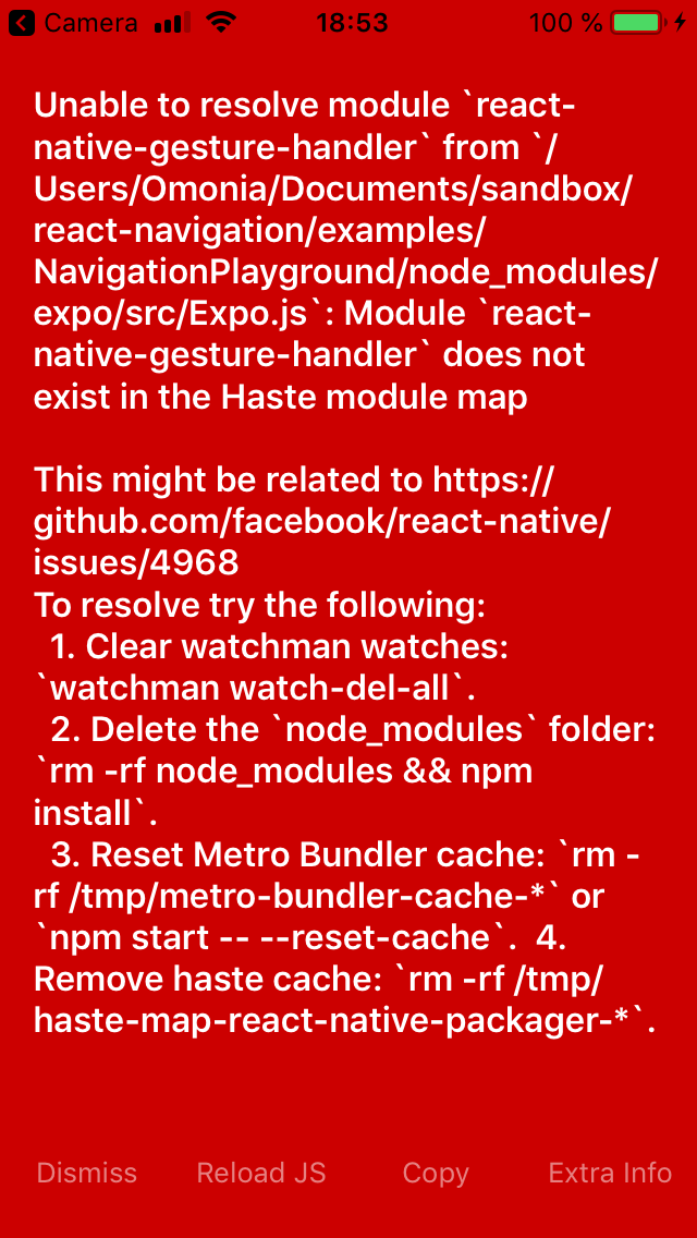Not possible to run NavigationPlayground · Issue #5423 · react