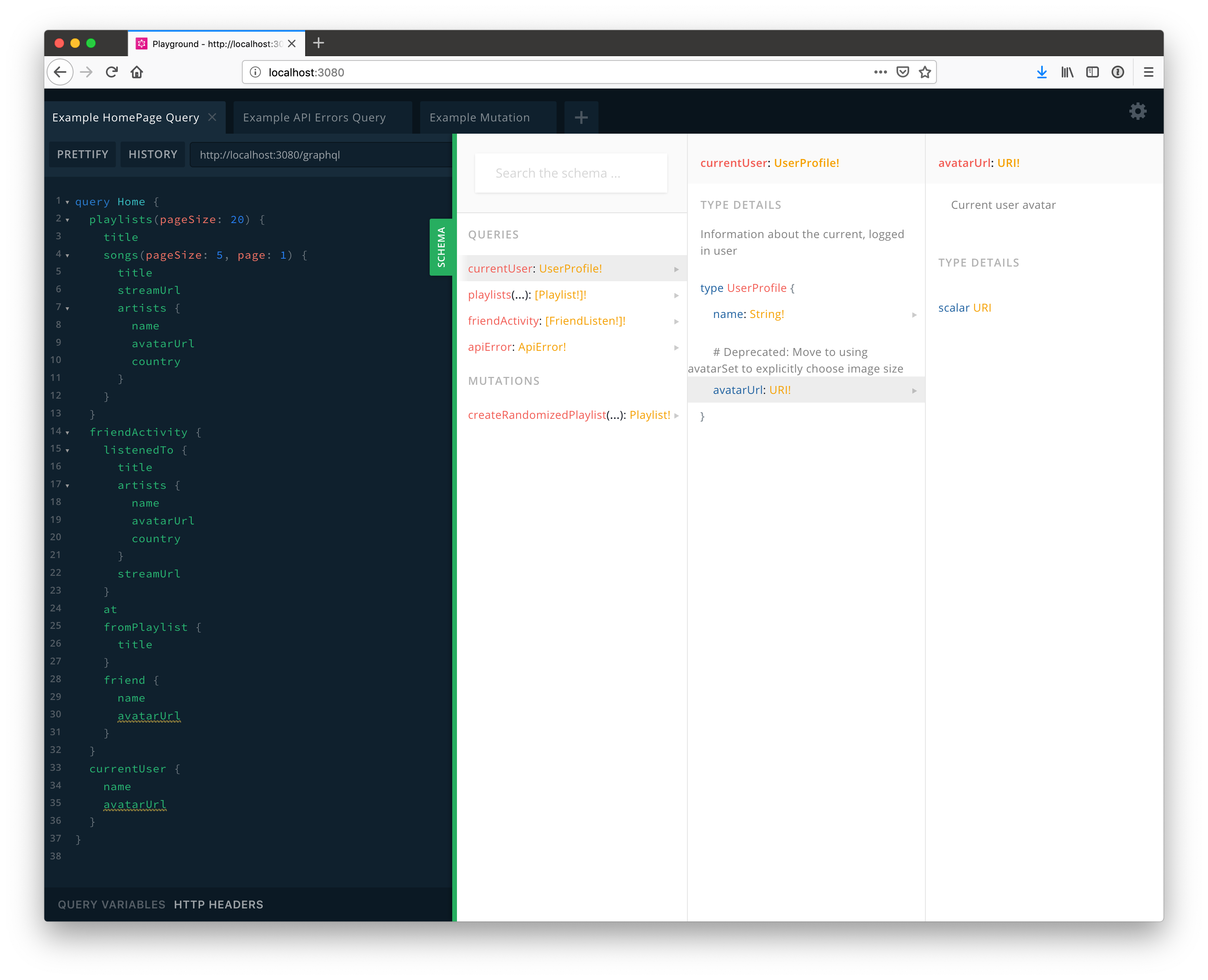 Screenshot of deprecated field in GraphQL Playground schema explorer