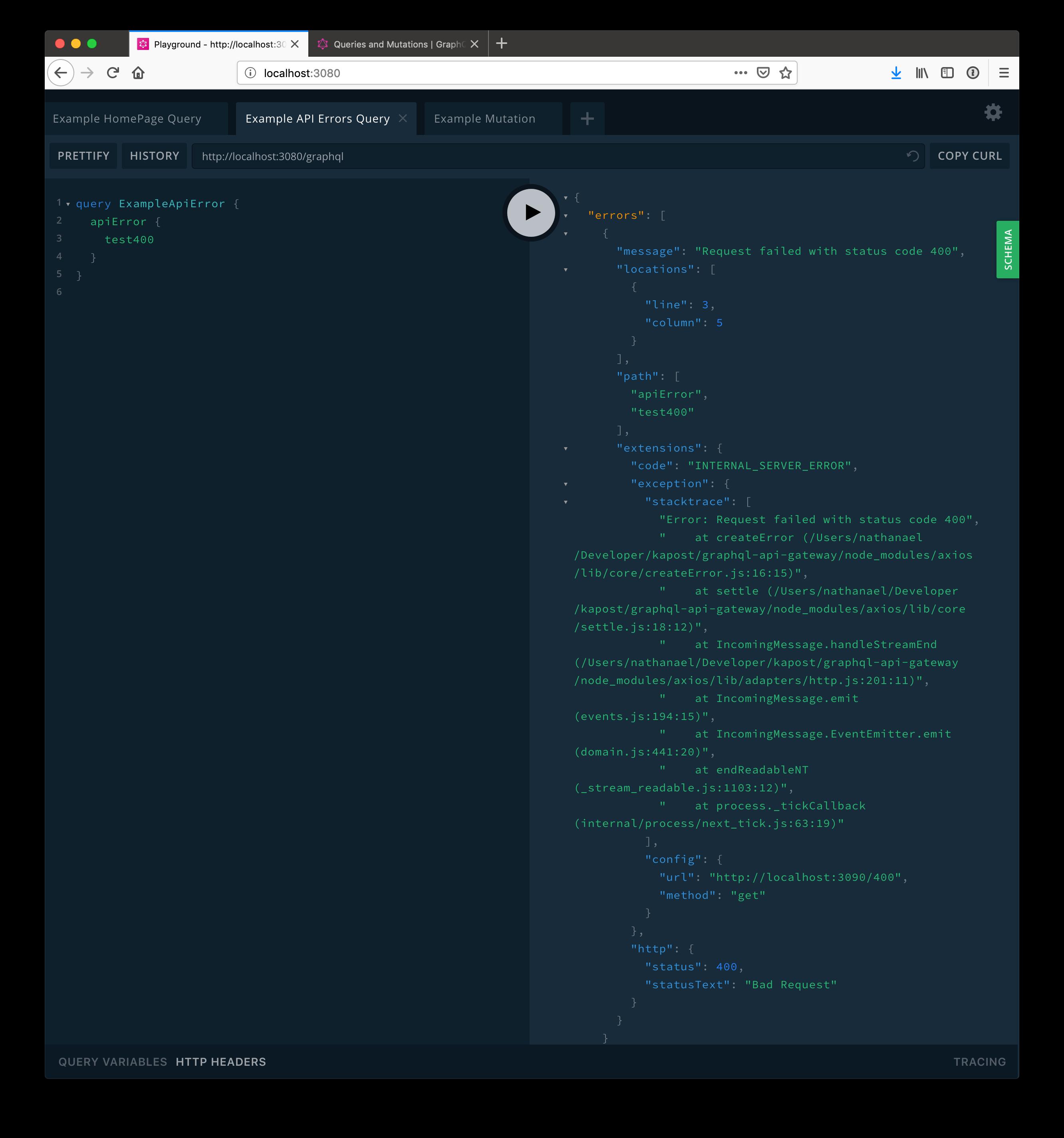 Screenshot of GraphQL HTTP errors